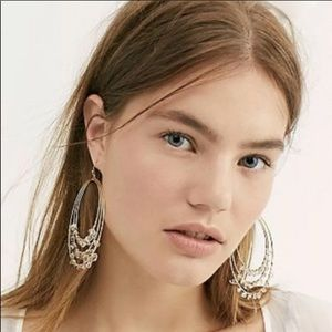 Free People Hoop Earrings Gold Tone Clear Stones